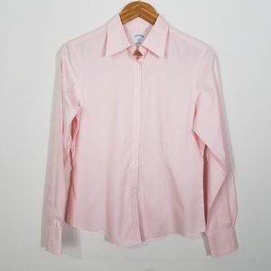 Brooks Brothers Pink Fitted Button Down Career Top